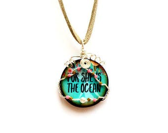 Mermaid Necklace, Boho Necklace, For She is the Ocean, Wire Wrapped, Beach Jewelry, Mermaid Jewelry, Mermaid Pendant, Ocean Necklace, Floral