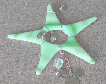 Wishing Star - Fused Glass Star - Namaste - Streaky Green Star - Yoga Gift - w1003