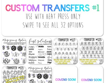 sublimation custom transfers #1 / HEAT PRESS ONLY / multiple designs / shirt transfers / graphics / t-shirt designs / boutique owners