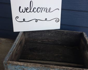 housewarming, home sign, welcome sign, hand lettered sign