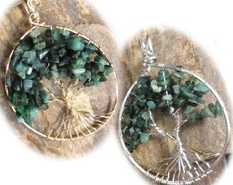 May Tree of Life, Emerald Tree of Life, Custom Birthstone, Genuine Emerald, May Birthstone, Sterling, Gold-filled, Custom Pendant