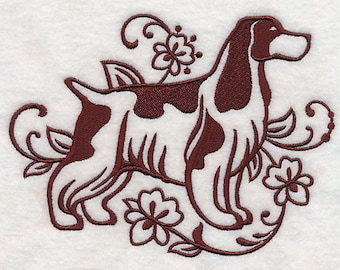 English Cocker Spaniel Silhouette Embroidered Flour Sack Hand/Dish Towel