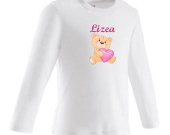 baby Teddy bear heart personalized with name t-shirt