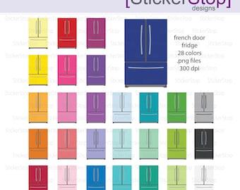 French Door Refrigerator Fridge Digital Clipart - Instant download PNG files