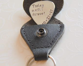 Gift for GROOM from bride, Groom gift from bride, Personalized Guitar pick, leather key chain holder, Grooms pick, wedding gift for him