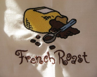 Embroidered Linen Towel French Roast