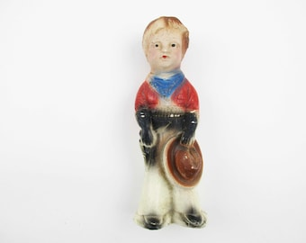 Vintage Chalkware Cowboy - Collectible - 30s or 40s Carnival Prize - Collectible Chalkware Figure - Cowboy Character