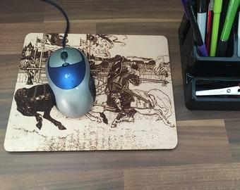 Jousting Knight Mousepad, Jousting Mouse Pad, Joust, Knights, Leather Mouse Pad, Leather Mousepad, History Mousepad, Horse Mousepad