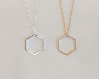 Hexagon Necklace   Hex Geometric Necklace   Layering Necklace   Minimalist Necklace   FREE GIFT WRAP