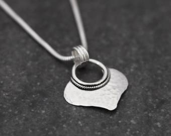 Silver Hammered Pendant- Statement Necklace - Ethnic Shape - Boho - Simple - Timeless