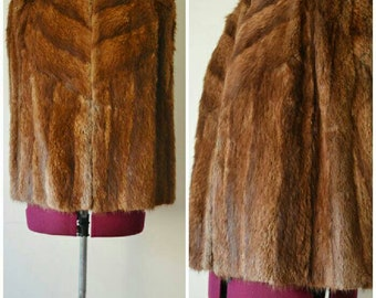 Vintage 1940's genuine brown fur Cape S M L