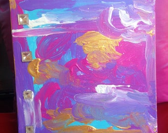 Feminine Hues 1, 10 x 10 canvas painting, abstract art, acrylic painting, colorful art, small canvas painting