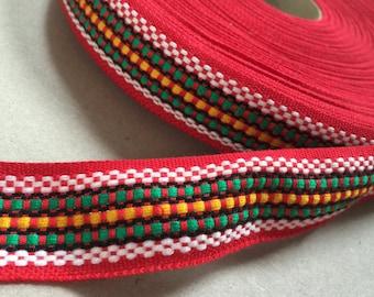 Vintage 70s Gibbon: red/Green/Yellow 3 cm x 1 m/1 yard geometric