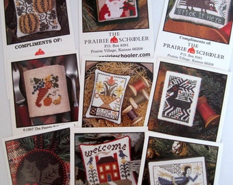 PRAIRIE SCHOOLER Nine mini card set of counted cross stitch patterns