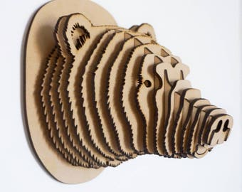 3D Puzzle GRIZZLY Head - Faux Taxidermy - Wall Decor - Animal - Puzzle - MDF - Laser cut - Bear - Grizzly