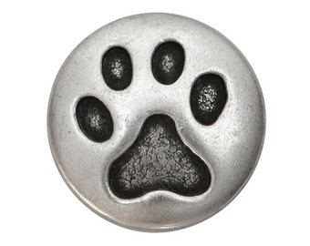 3 Cat Paw 3/4 inch ( 20 mm ) inch Metal Buttons Antique Silver Color