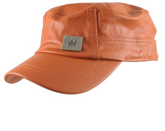 Genuine Burnt Orange Leather Low Profile Adjustable Army Cadet Flat Fashion Cap