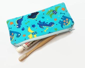 Dinosaur Time - Toothbrush Bag / Travel Bag / Snack Bag / Accessory Bag / Glasses Case / Stationary Bag - Water-resistant and reusable