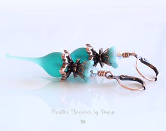 Copper Earrings, Teal Lampwork, Flower Pods Headpins, Czech Glass Bell Flowers, Swarovski Crystals, Victorian Style, Turquoise Flowers