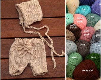 So Soft ! Newborn Knit Baby Girl Boy Bonnet Hat and Shorts SET for Baby photo prop