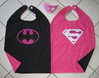 Reversible Batgirl Supergirl Superman Batman Pink Cape Mask Woman