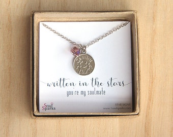 Best Friend, Soulmate, Gemini Zodiac Sign Necklace- Gemini Necklace, Light Amethyst Crystal, June Birthday Gift, Gemini Gift, Astrology Gift