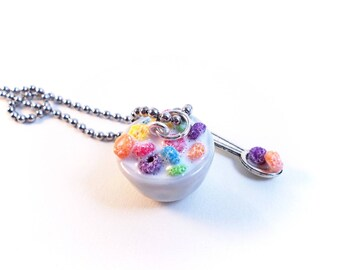 Froot Loops Necklace, Cereal And Milk, Miniature Food Jewelry