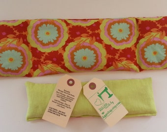 RELAXATION THERAPY: Therapy Eye Pillow/Neck Wrap Set Hot/Cold Therapy Microwaveable LAVENDER Rice Flaxseed Amy Butler Buttercup Brown