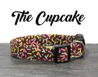 Cupcake Dog Collar, Dog Collar for girls, Cute Dog Collar, Pastel Dog Collars, Dog Collars for Girl Dogs, Sprinkle Collar, Brown Collar