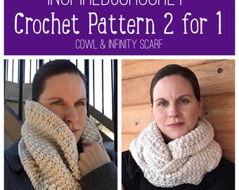 Pattern - 2 for 1 -One Skein Cowl ~ Two Skein Infinity Scarf ~ Digital Download Crochet Pattern ~ Chunky Textured Cowl / Scarf ~ Neck warmer