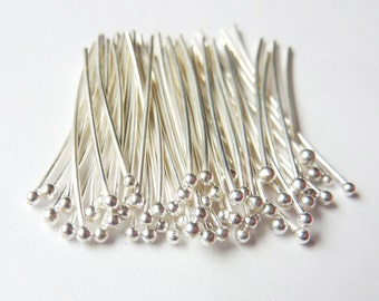100pcs - 20 gauge Headpins - fine silver - Pick Your Length - Tagt Team