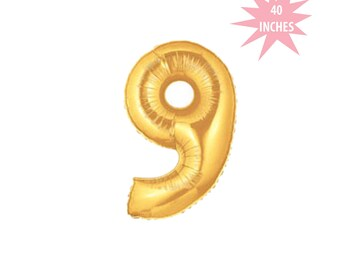 Gold Foil Number Nine Balloon - Jumbo Gold Mylar Balloon, Gold Foil 9 Balloon, 40 Inch Birthday Balloon, 40 Inch Number Balloon