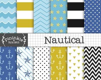Nautical Digital Paper, Coastal Digital Scrapbook Paper, Anchors, Nautical Tattoo Star, Waves, Instant Download,  Commercial Use
