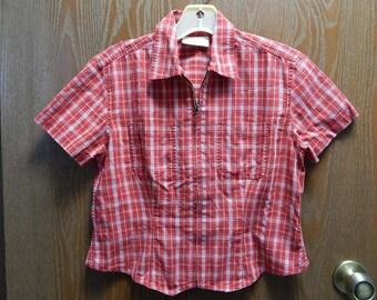 Liz Claiborne Womens Petite/Small Red Checkered Zipper Camp Shirt/Top/Blouse
