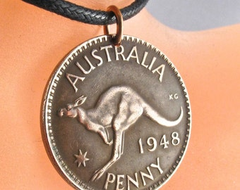 Coin necklace jewelry Australia  . AUSTRALIAN PENNY Coin Pendant - Coin Jewelry Kangaroo Roo - CHOOSE Year -  mens pendant No.00680