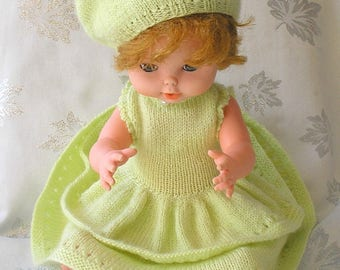 Doll dress and lime green beret wool garment