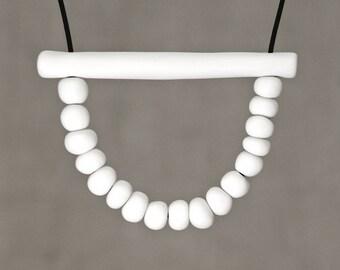Ceramic jewelry, Handmade porcelain beaded necklace, Ceramic necklace