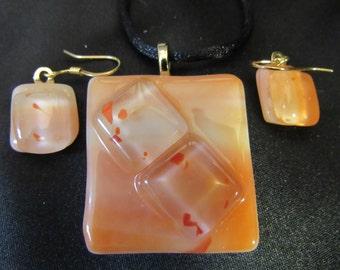 Tangerine dreams - fused glass pendant and earrings. Item Y6