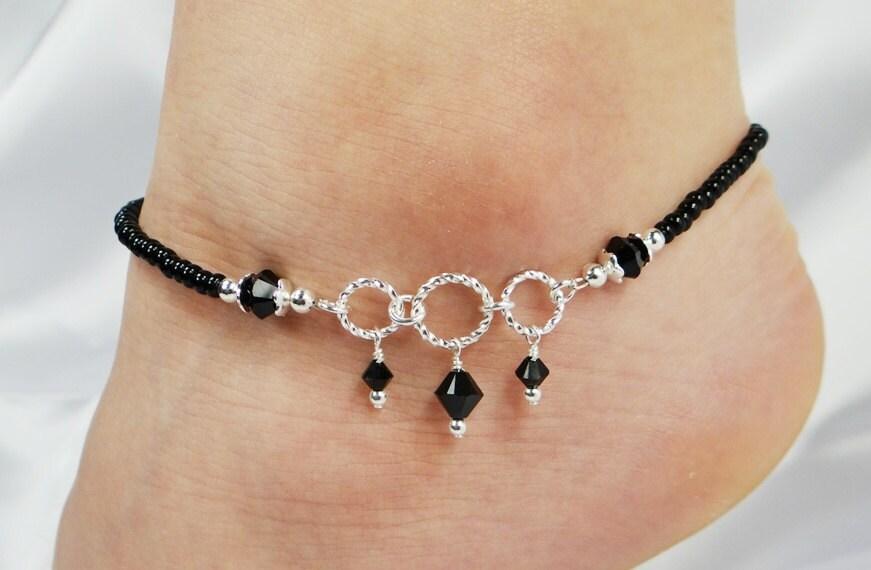 Anklet Ankle Bracelet Jet Black Swarovski Crystal Dangles