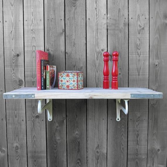 Pine Scaffold Board Shelf - Vintage 1920s Enamel Sink Brackets