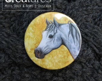Badge 38mm with Arabian horse portrait in watercolor