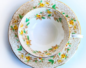A.B.J. Grafton China Made in England Tea Cup and Saucer ~ English Tea Party ~ Country Cottage Charm ~ Vintage China ~ Yellow Flowers & Gold