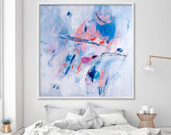 Large Canvas Art, Large Abstract Floral Print, Modern wall art, Light Blue and pink wall art, Large art print, Duealberi
