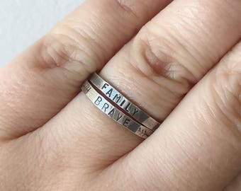Personalized Thin Sterling Silver Ring - Perfect for Stacking- Bridesmaid Jewelry - Customize w/ Names or Saying - Hand Stamped - Single/Set