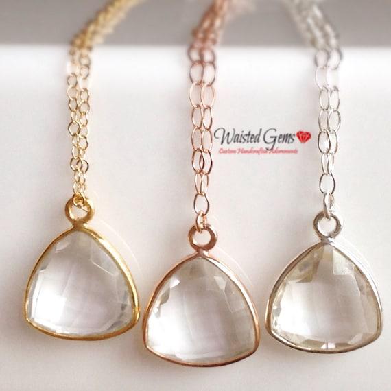 Bezel Set Crystal Quartz Faceted Triangle Necklace , April Birthday Jewelry, Gemstone Necklace, Bridal Jewelry, Birthday Gifts.  ZMW2218-2