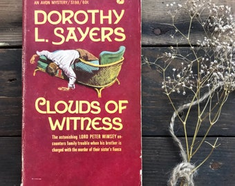 Vintage mystery book Dorothy L. Sayers Clouds of Witness paperback, classic
