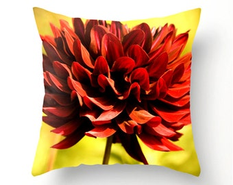 BIG RED DAHLIA decorative throw pillow, red and yellow scatter cushion, summer trends, pillow cover, cushion covers