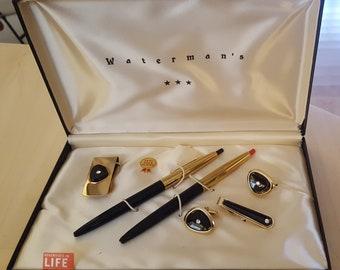Vintage Waterman's Pen set-Onyx and Gold-Original Box