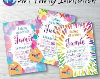 Art Invitation, Art Party Invitation, Arty Party, Arts and Crafts Invitation, Painting Party Invitation Paint Splatters, Painting Invitation