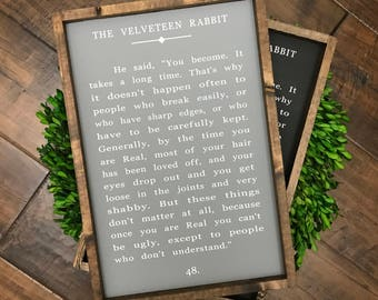 Velveteen Rabbit Book Page Quote Sign | Wood Sign | Farmhouse Sign | Farmhouse Decor | Farmhouse Style | Kids Room Nursery Decor | Home Deco